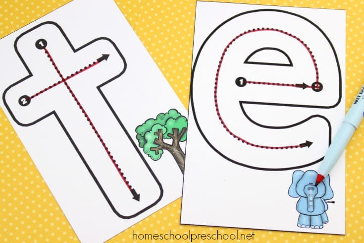 Handwriting practice for little ones. These letter tracing cards are a great way to have preschoolers practice tracing and writing the alphabet.