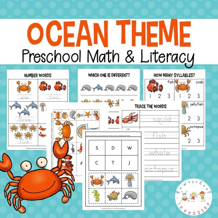 FREE Preschool Ocean Theme Printables! These printables will help kids learn colors, alphabet, and math with a fun ocean theme. Perfect for your summer homeschool preschool lessons!