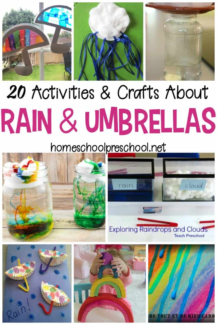 If you enjoy a good spring rain, you'll love these rain crafts and activities. They're perfect for keeping tots and preschoolers busy on a rainy afternoon!