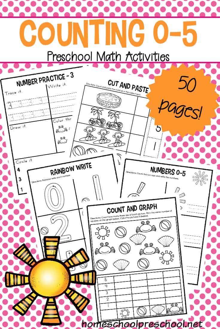 Totschool And Preschool Number Worksheets Counting 0 5