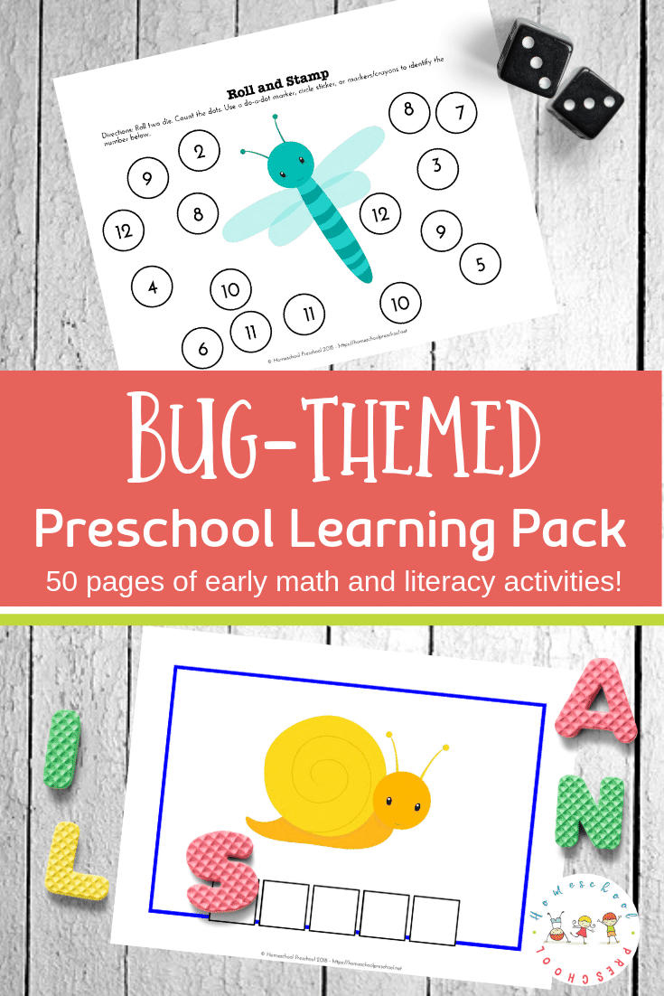 Preschoolers will work on early math and literacy skills with this pack of preschool insect theme printables. 50 pages of learning fun!
