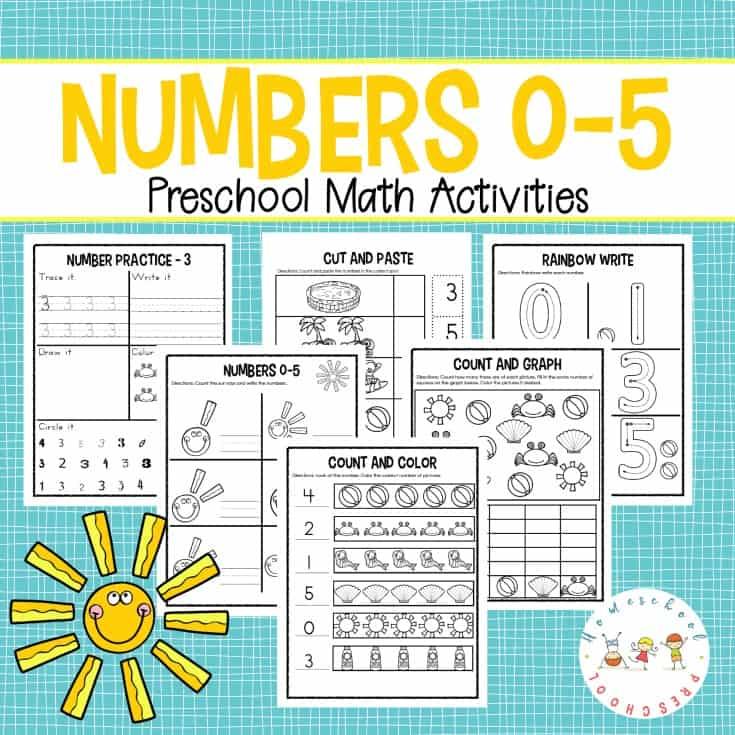 Totschool And Preschool Number Worksheets Counting 0-5