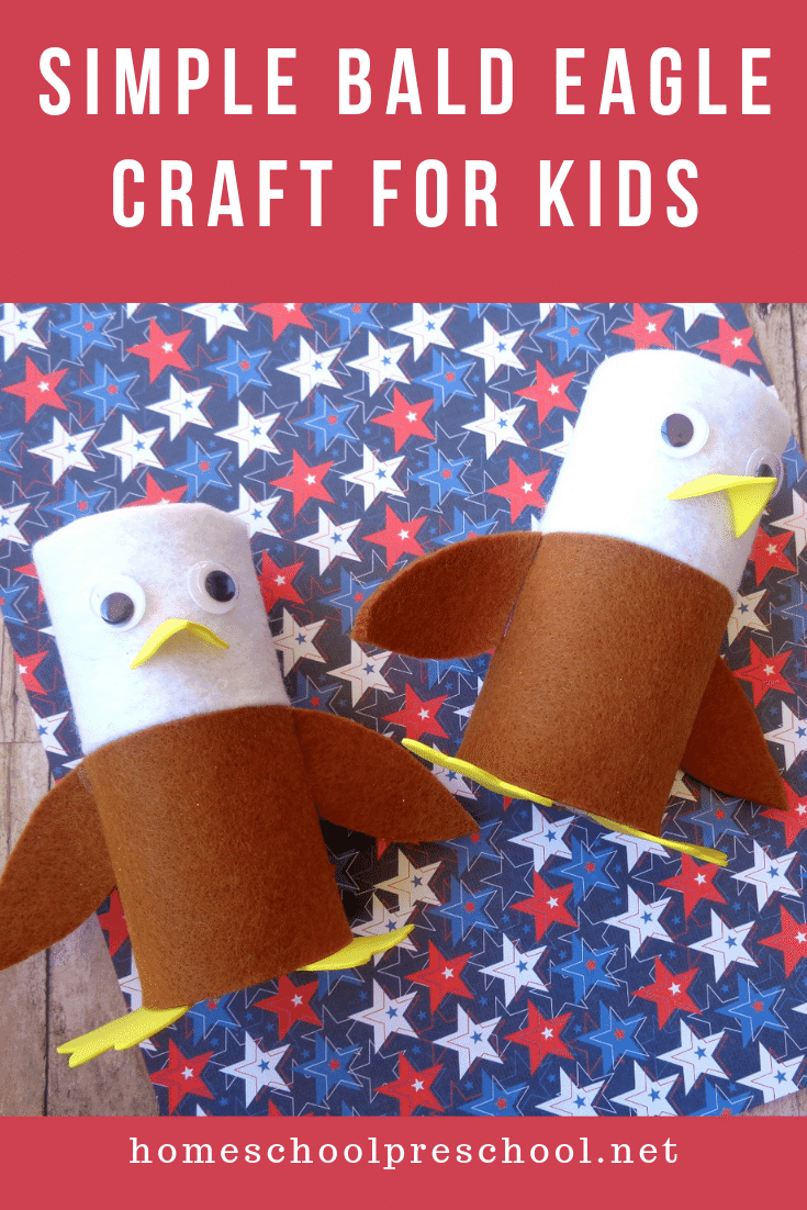 Make this bald eagle toilet paper roll craft with your preschoolers to celebrate July 4th. It's also a fun craft to add when learning about birds.