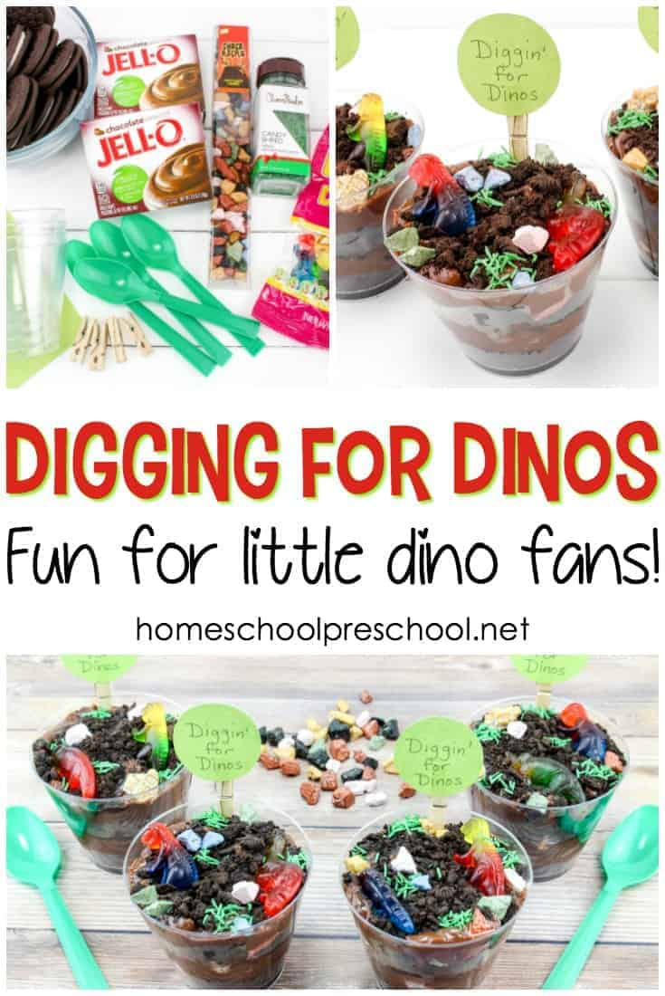 Let your little ones play with their dinosaur food with this Digging for Dinosaurs pudding snack! Young dinosaur fans will dig it!