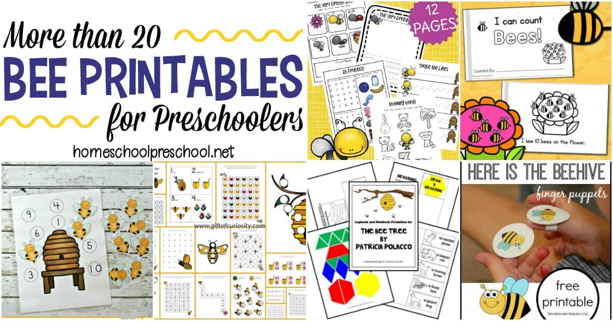Explore this wonderful collection of free preschool bee themed printables that focus on math, science, and literacy. There's even a fun craft template for your little ones.