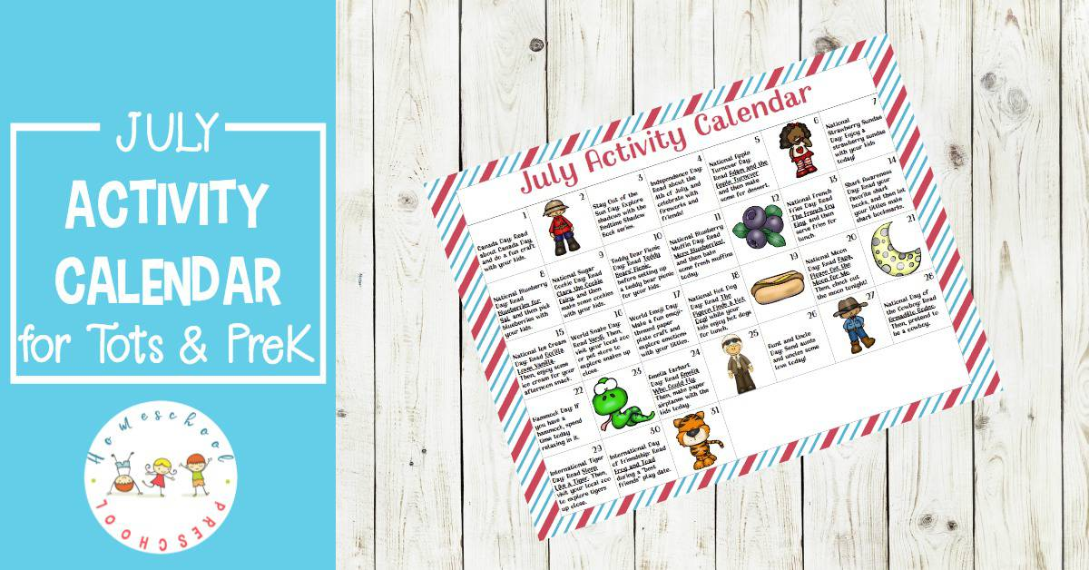 Don't miss this month's preschool activity calendar. It's full of hands-on activities, book suggestions, and printables to help you celebrate the month of July!