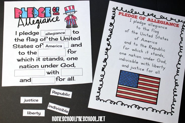image about Pledge of Allegiance Words Printable called Reduce and Paste Pledge of Allegiance Phrases Printable