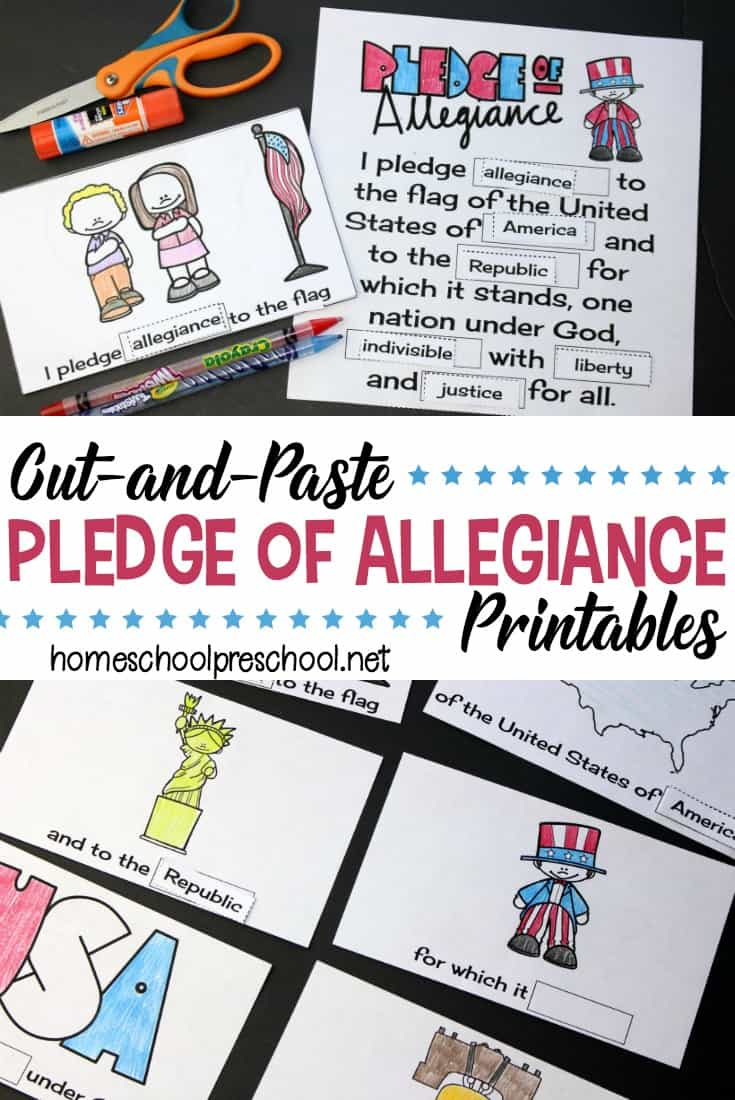 Download this free cut and paste Pledge of Allegiance words printable for your kids. They'll work on fine motor skills while memorizing the Pledge.