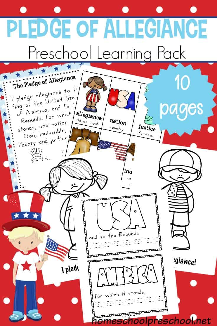 Teach young learners what the Pledge of Allegiance means with this set of free Pledge of Allegiance printables! It contains an anchor chart, vocabulary cards, and a mini-book!