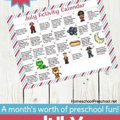 Preschool Activity Calendar for July
