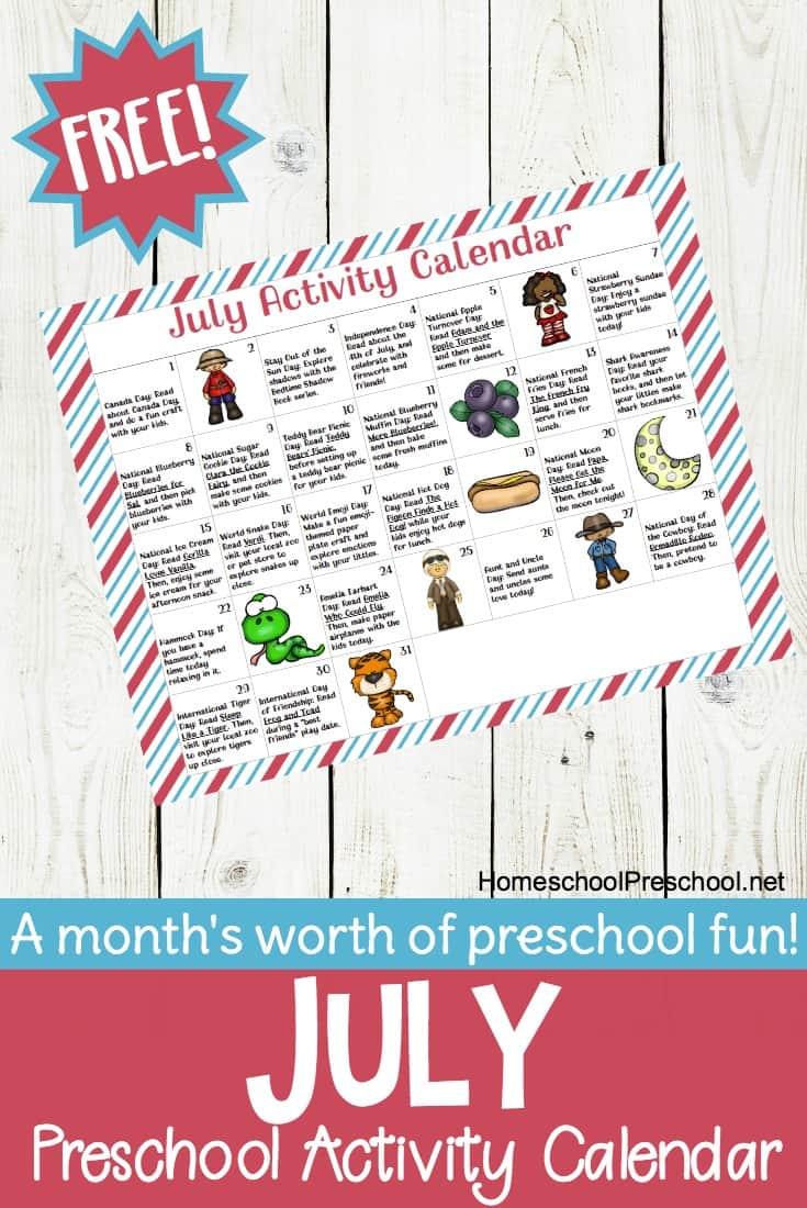 picture about Free Preschool Calendar Printables named Absolutely free Printable Preschool Sport Calendar for July