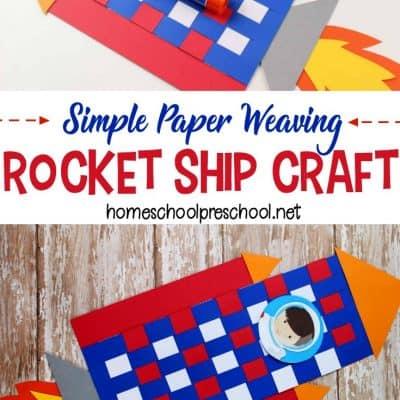 Easy Paper Weaving Rocket Craft for Preschoolers