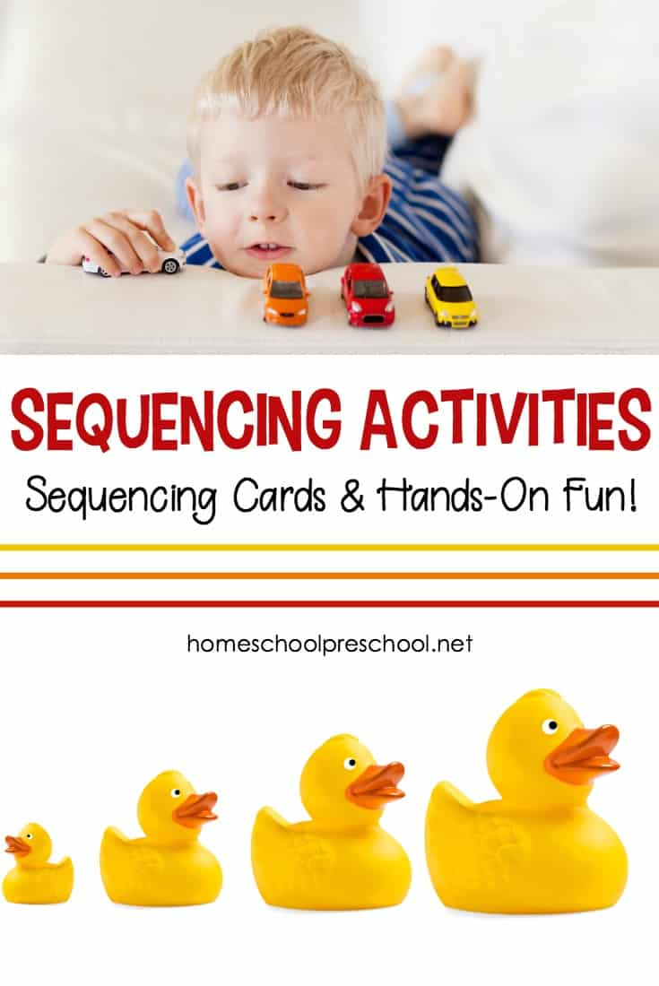 Sequencing cards help preschoolers recognize patterns and order in their every day life, and these sequencing activities will make learning fun!