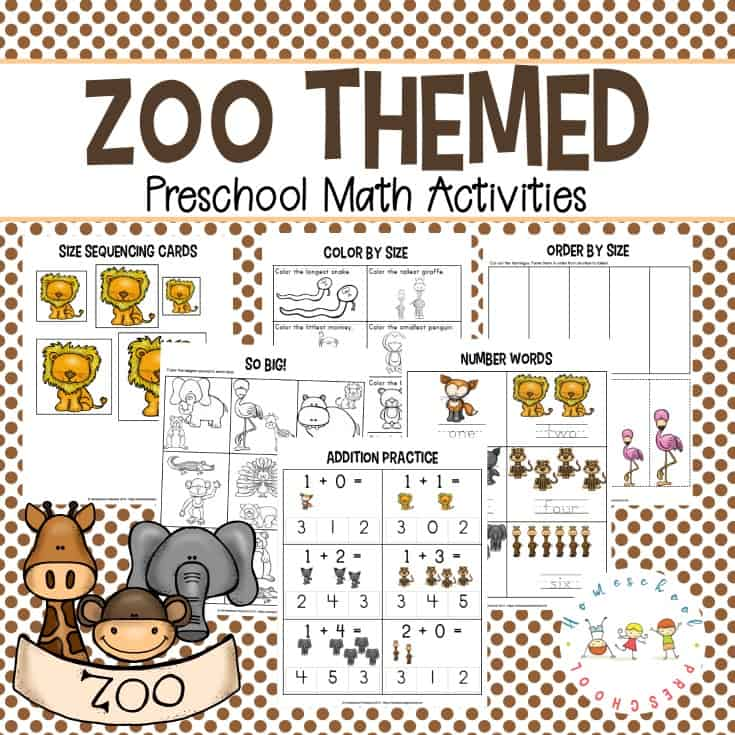 Download these free zoo-themed preschool math worksheets which focus on counting, adding and subtracting, and sequencing by attribute.