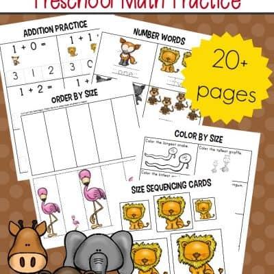 Zoo Themed Preschool Math Worksheets