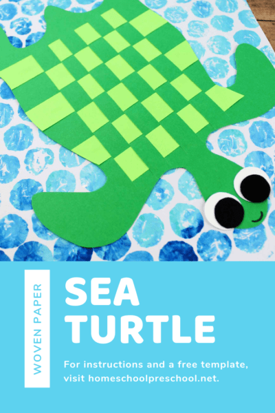Download the free template and follow the tutorial to make a simple paper-weaving sea turtle kids craft with your preschoolers!