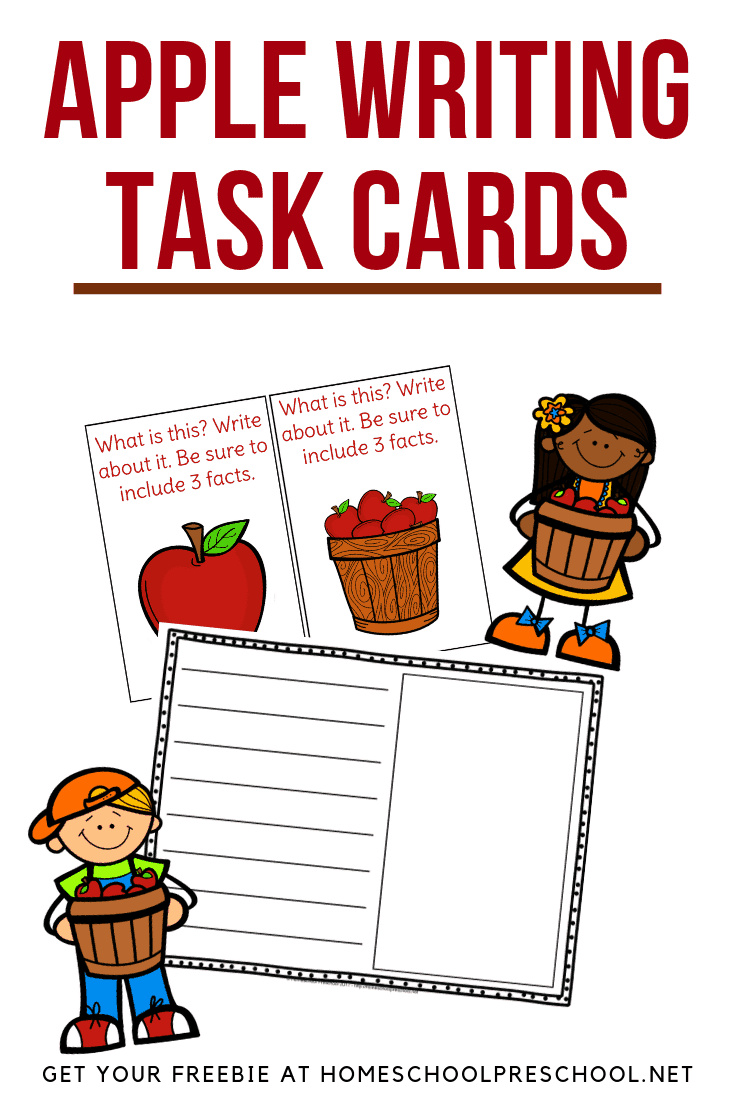 Encourage young writers to get creative with these apple writing task cards. Includes twelve writing prompts and apple writing paper.