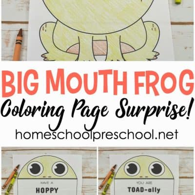 Surprise Big Mouth Frog Printable Coloring Page
