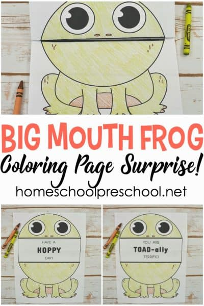 Print this big mouth frog printable coloring page for a cheap and easy activity for kids! Fold, color, and unfold for a fun surprise!