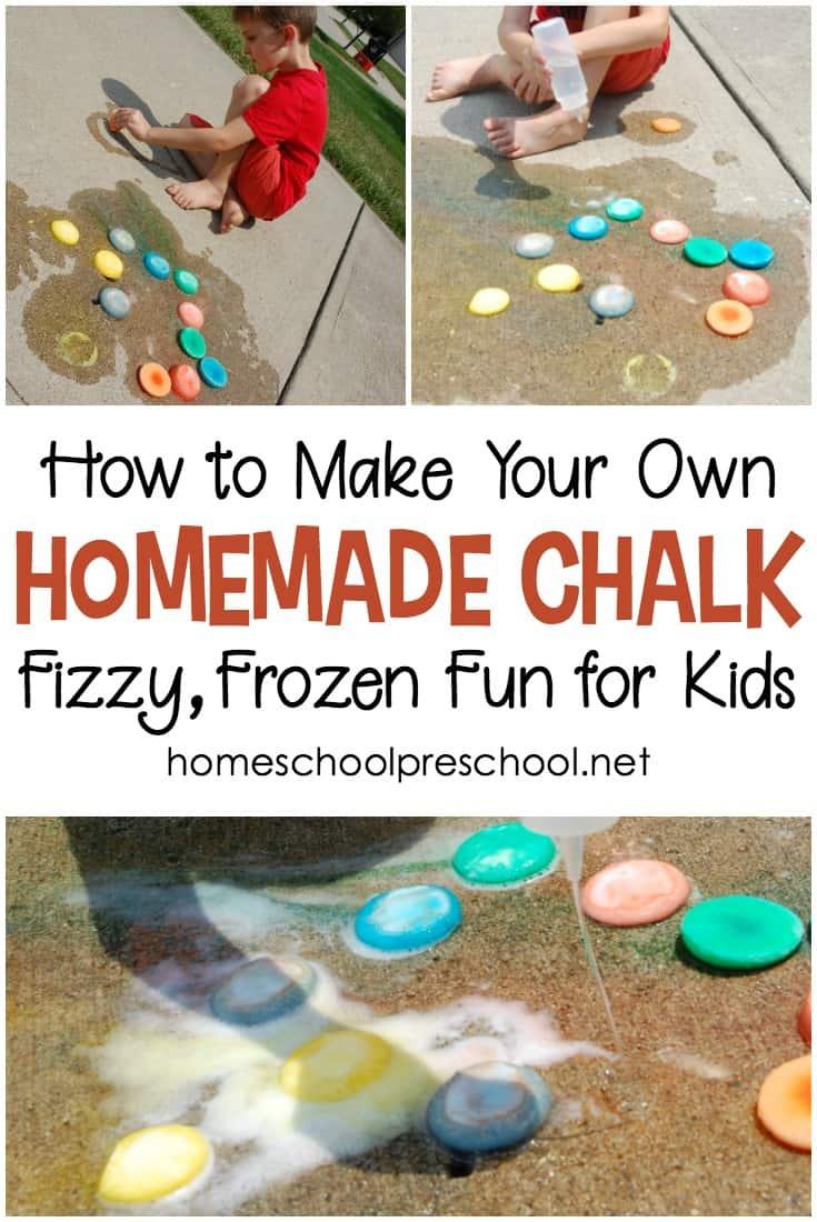 Follow this simple recipe for homemade frozen sidewalk chalk for kids. You've likely got the ingredients in your pantry, and your kids will have a blast!