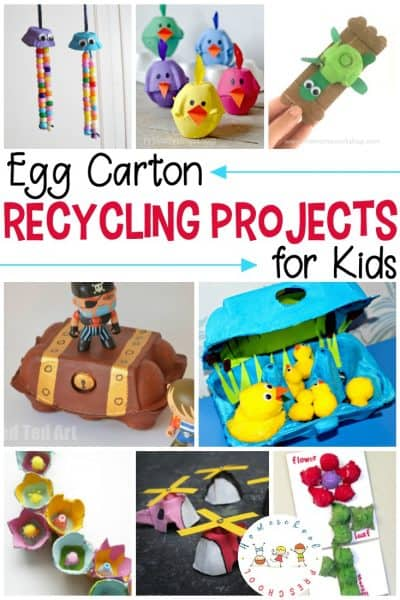 Egg carton recycling projects are perfect for upcycling a common household item into a fun craft or art project with little to no cost.