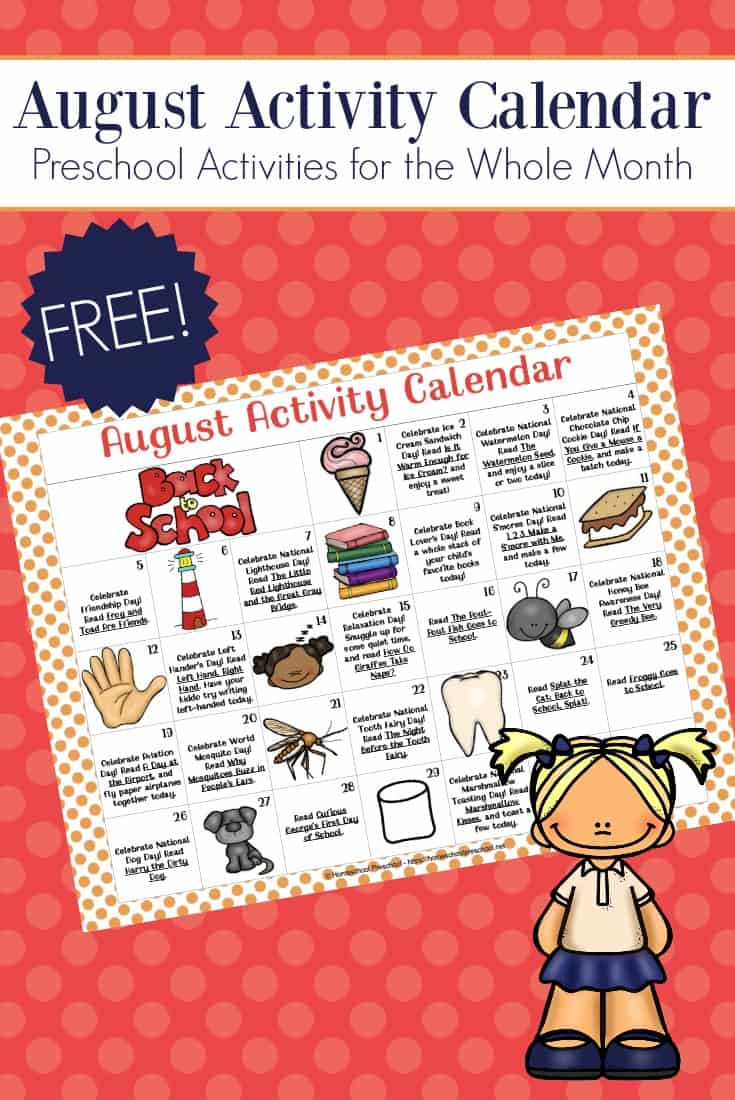 Be sure to grab your preschool activity calendar! Celebrate all of August's holidays and special days with books, printables, and hands-on fun!