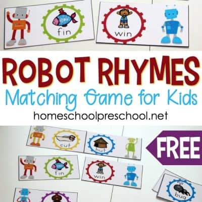 Robot Themed Rhyming Words Game for Preschoolers