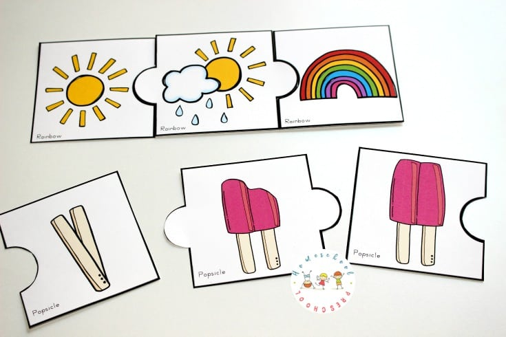 Download this set of fun summer sequencing cards that include puzzles, a sequencing mat, and story telling page for 3 step sequencing cards.