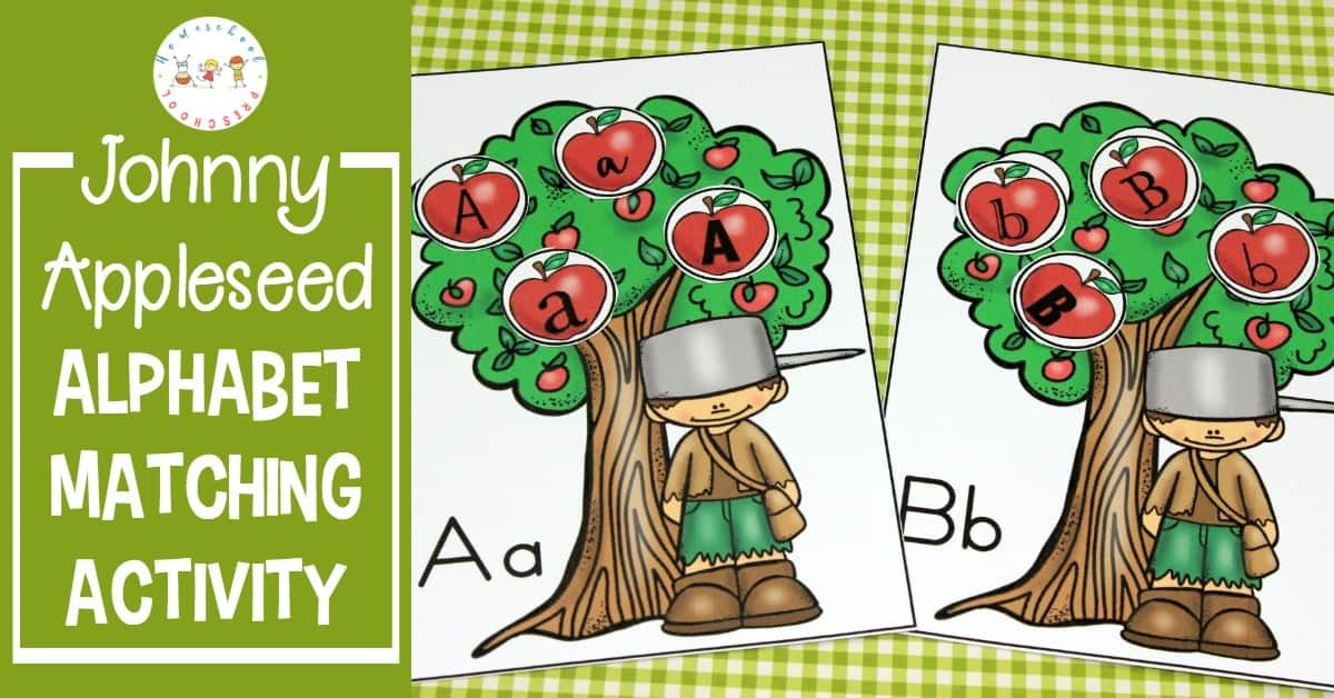 This fall, use this free printable Johnny Appleseed letter matching game to teach and reinforce letter recognition with your preschoolers.
