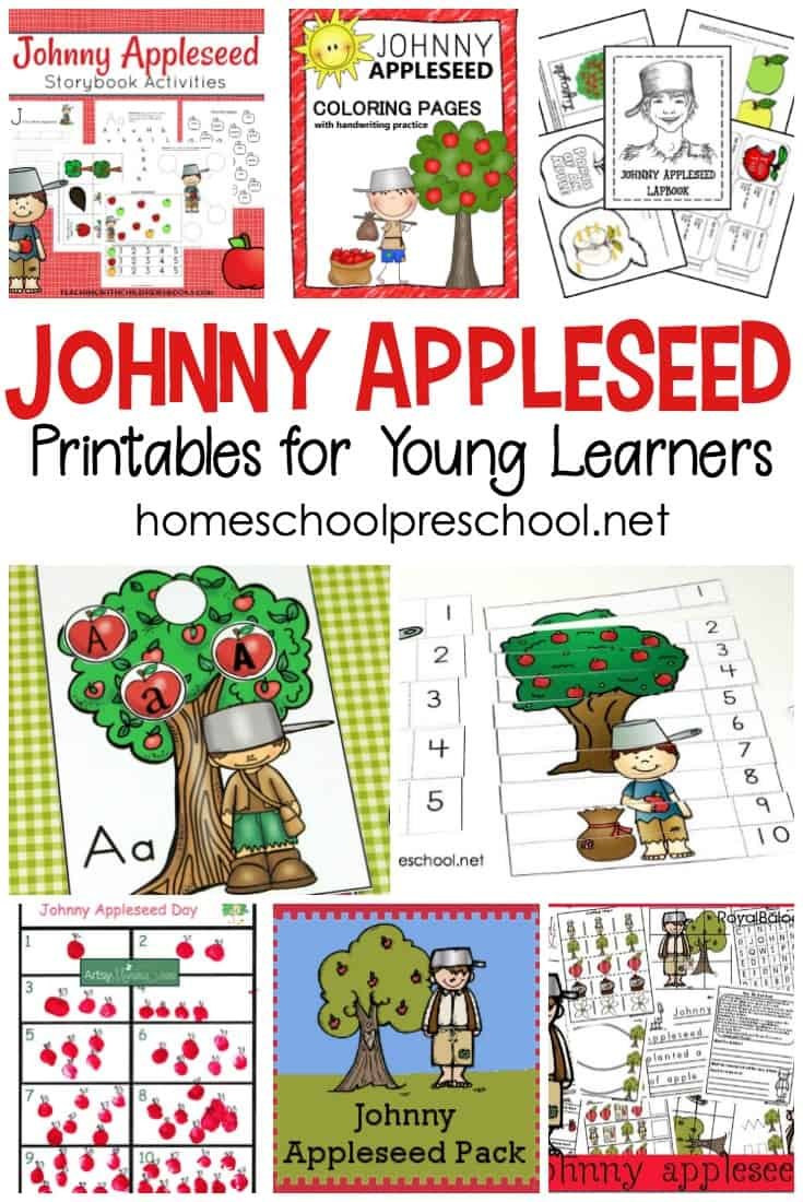 These printable Johnny Appleseed activities are perfect for celebrating Johnny Appleseed Day or supplementing your apples preschool theme!