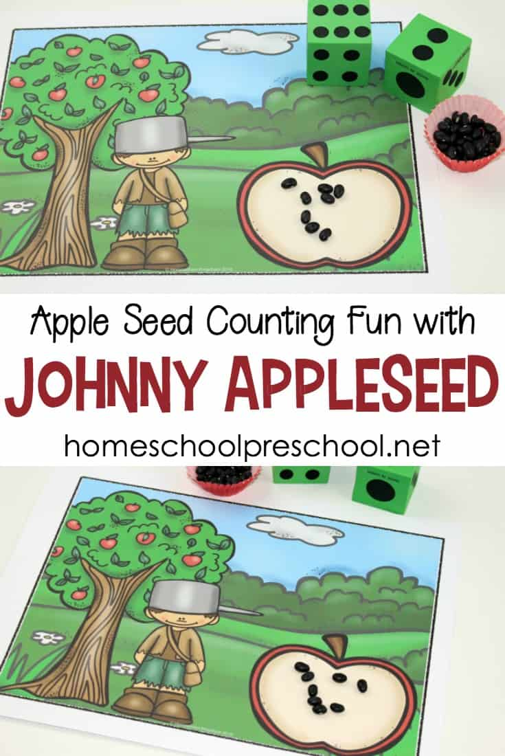 Young learners will have fun practicing their counting skills with this free activity featuring Johnny Appleseed for preschool.