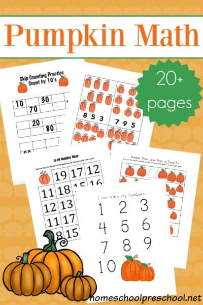 Engage your little learners this fall with this pack of pumpkin math activities for preschoolers. They'll work on number recognition, counting, and more.