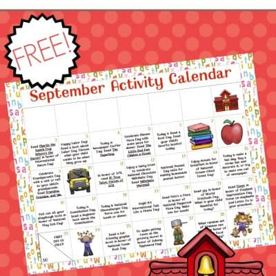 Preschool Activity Calendar for September