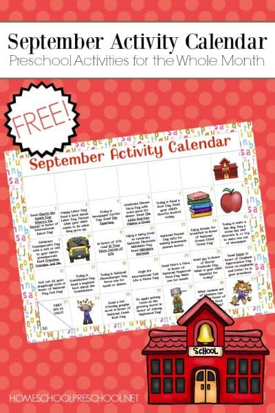 Don't miss this month's preschool activity calendar! Celebrate all of September's special days with picture books, seasonal printables, and hands-on fun!