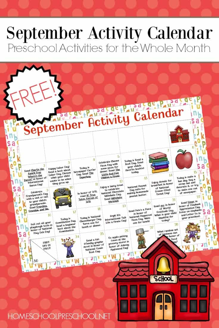 photo about Free Preschool Calendar Printables titled Free of charge Printable Preschool Recreation Calendar for September