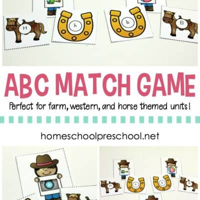 Cowgirl and Horse ABC Match Game