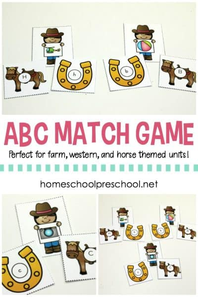 Add this ABC match game to your cowboy, cowgirl, and horse themed homeschool preschool lessons. Kids will match letters and beginning sounds.