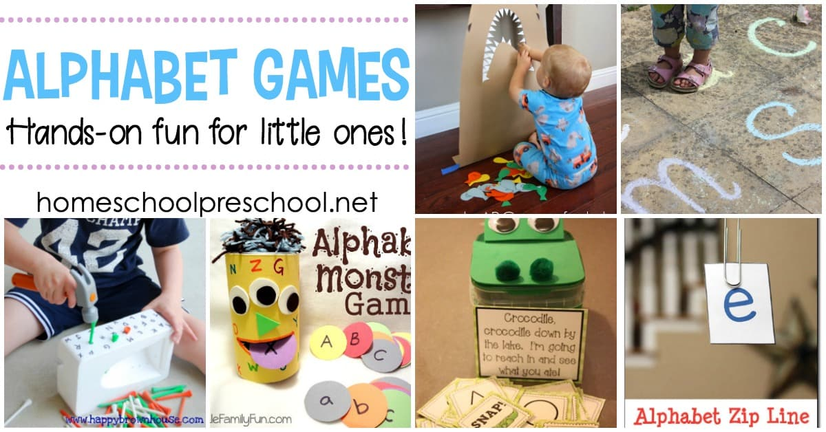 These hands-on alphabet games for preschoolers are perfect for teaching letter recognition, ABC order, and beginning sounds.