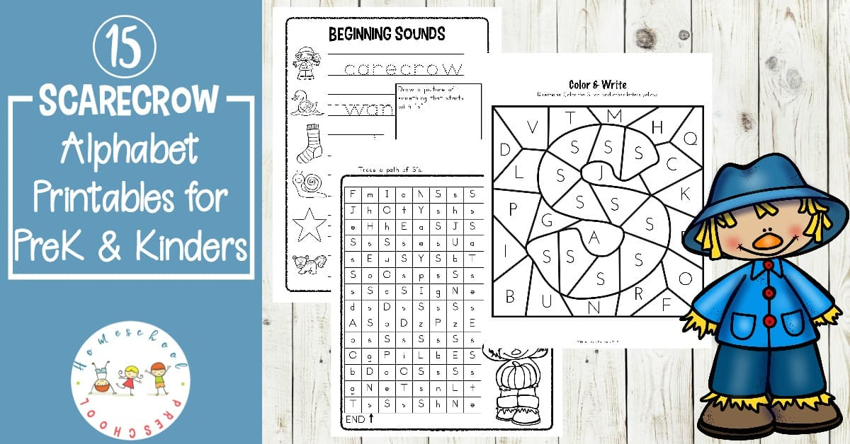 Printable Scarecrow Themed Alphabet Worksheets For Fall