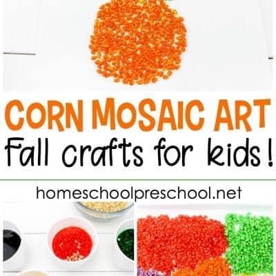 Pumpkin-Themed Corn Mosaic Art Project for Kids