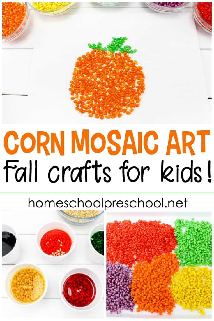 I love trying unique art projects with my little ones. This pumpkin-themed corn mosaic art project is so much fun! It's perfect for your fall crafting sessions.
