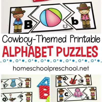 Wild West Themed Alphabet Puzzle Printables