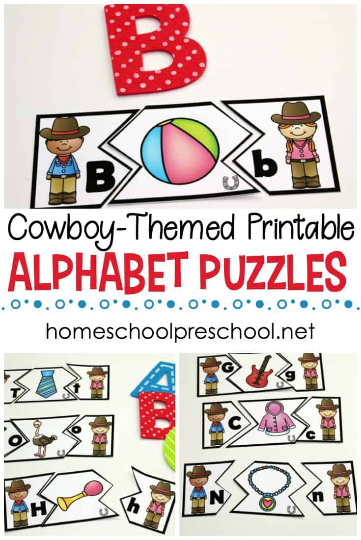 Alphabet puzzle printables help your preschoolers focus on letter recognition, letter matching, and beginning sounds. These wild west ABC puzzles are fun!