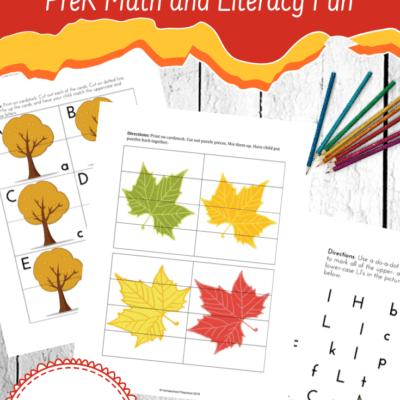 Preschool Leaf Theme Math and Literacy Printables
