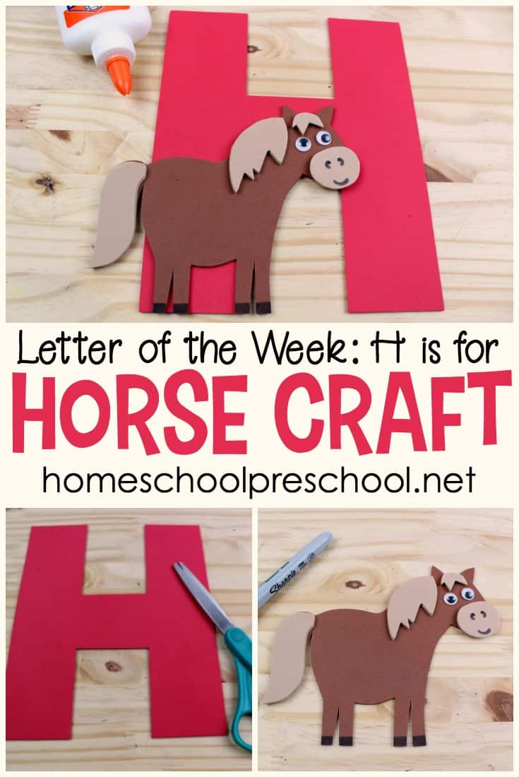 This H is for Horse craft is the perfect addition to your letter of the week activities. Or, add it to your wild west, horse, or cowboy preschool themes!