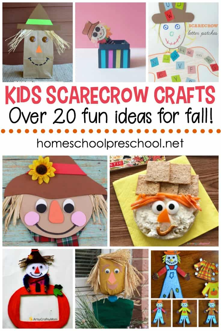 Decorate your preschool room with one or more of these kids scarecrow crafts. They're perfect for your autumn themed lessons. #homeschoolprek #scarecrows #scarecrowcrafts #kidsscarecrow #fallcrafts #preschoolscarecrowtheme