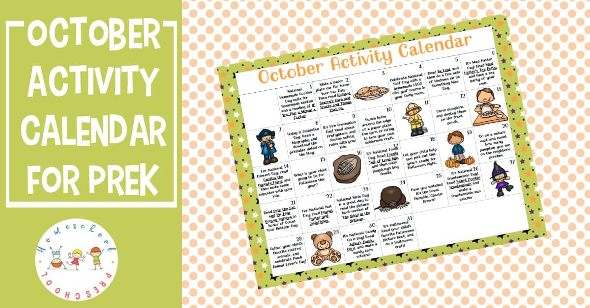 Don't miss the October preschool activity calendar! Celebrate all of this month's special days with books, printables, and hands-on activities!