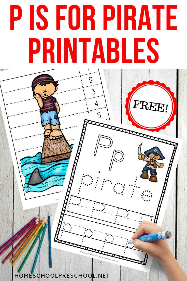 Add these printable activities to your pirate theme preschool plans. Celebrate Talk Like a Pirate Day or add them to your Letter of the Week lessons.
