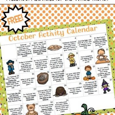 Preschool Activity Calendar for October
