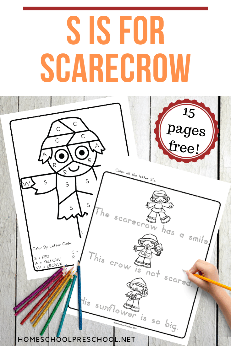 Encourage your preschoolers to practice the alphabet with this S is for Scarecrow alphabet worksheets. Perfect for your autumn literacy centers!